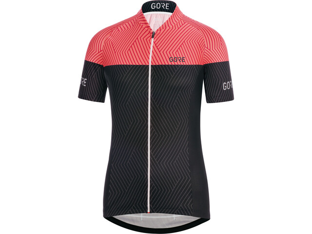 GORE WEAR C3 Optiline Maillot manches courtes Femme, black/coral glow